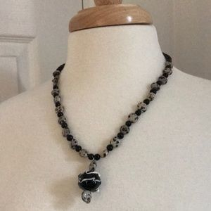 NWOT Handmade Beaded Necklace with Glass Pendant
